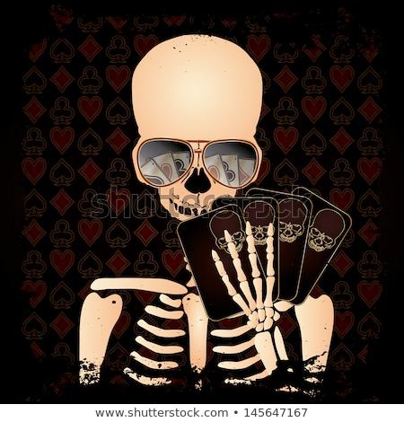 Skeleton gambler with sunglasses poker, vector Stock photo © carodi
