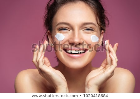 Foto stock: Belo · morena · cosmético · creme · mulher · jovem