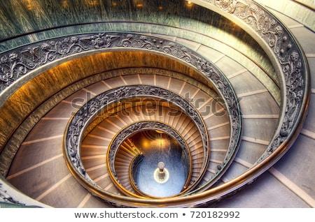 Vatikán múzeum lépcsőház feketefehér kép terv Stock fotó © Donvanstaden