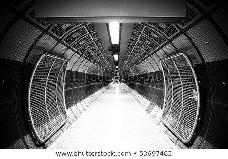 Futuristic hallway steel corridor Stock photo © Anterovium