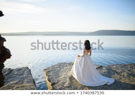 свадьба портрет привязчивый невеста брюнетка вуаль Сток-фото © gromovataya