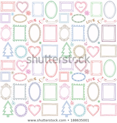 Vintage frame sketch in red and pink Stock photo © adrian_n