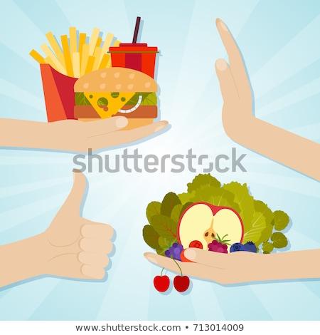 Foto stock: Insalubre · comer · hambúrguer · como · maçã · folha · eps10