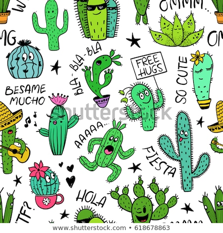 funny cactus with a sombrero in desert stock photo © jackybrown