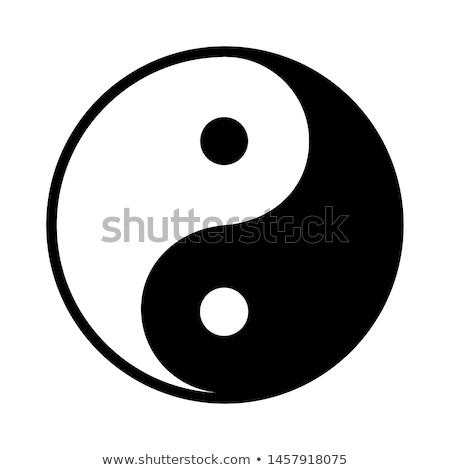 yin · yang · ikon · részletes · illusztráció · szimbólum · absztrakt - stock fotó © gladiolus