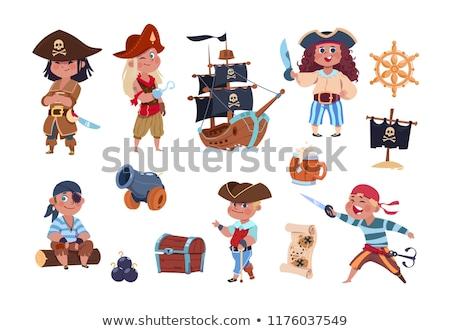 пиратских · девушки · Sexy · костюм · череп · флаг - Сток-фото © gleighly