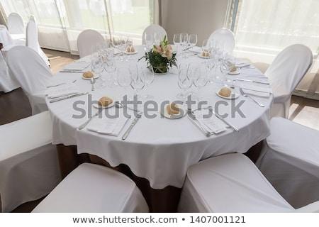 asztal · szett · esküvő · vacsora · virágok · étterem - stock fotó © prg0383