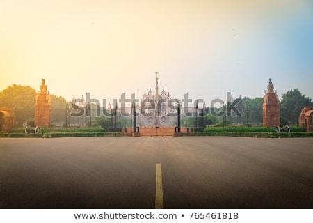 Entree huis parlement Delhi Indië gebouw Stockfoto © meinzahn