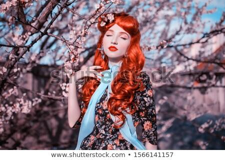 Portrait femme coloré verger dame arbre Photo stock © konradbak