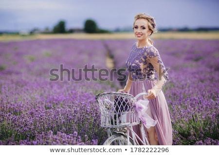 ストックフォト: 女性 · 紫色 · ドレス · 帽子 · レトロな · 自転車