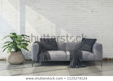 white walls brick interior with classic leather armchair stock photo © vizarch