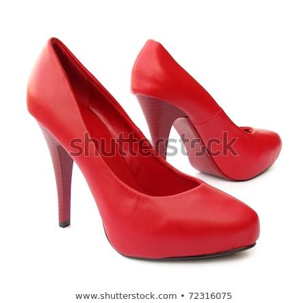 Divatos piros cipők stílus tárgy íj Stock fotó © phbcz