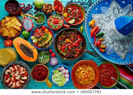 Mexikói étel illusztráció mosoly buli ital tányér Stock fotó © adrenalina