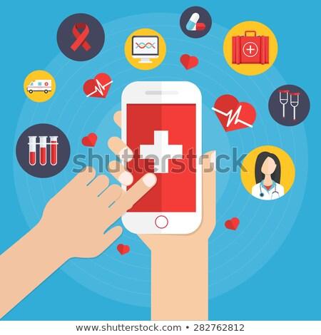 szív · mobil · illusztráció · orvosi · logo · gyógyszer - stock fotó © smeagorl
