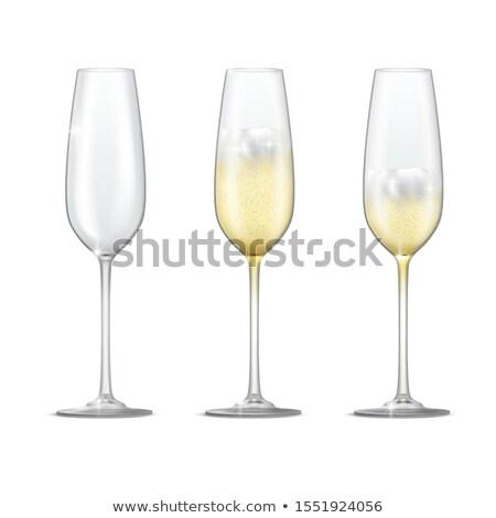 yarım · cam · şampanya · yalıtılmış · beyaz · parti - stok fotoğraf © Rob_Stark