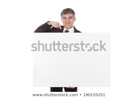 бизнесмен белый плакат портрет улыбаясь Сток-фото © Flareimage