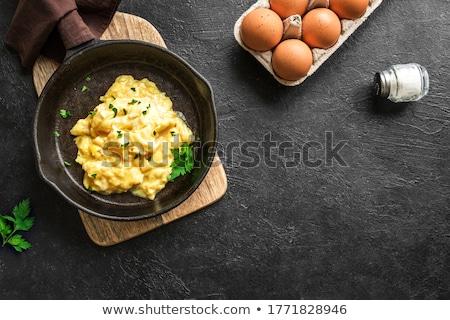 Reggeli asztal rántotta friss kenyér narancslé Stock fotó © dariazu