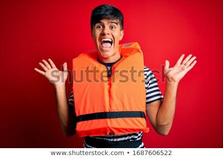 Portret man zwemvest rafting water sport Stockfoto © master1305