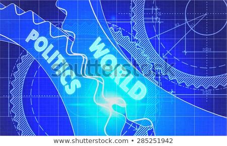 Világ politika sebességváltó terv stílus mechanizmus Stock fotó © tashatuvango