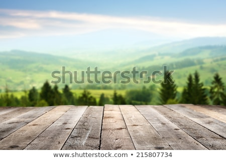 Fa asztal felső égbolt konzerv használt kirakat Stock fotó © scenery1