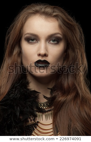 Closeup portrait of a gothic femme fatale with black lips Stock photo © master1305