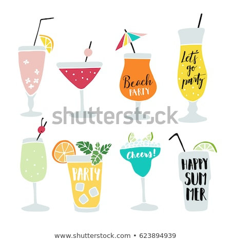 cocktail drink with cherry sketch icon stock photo © rastudio
