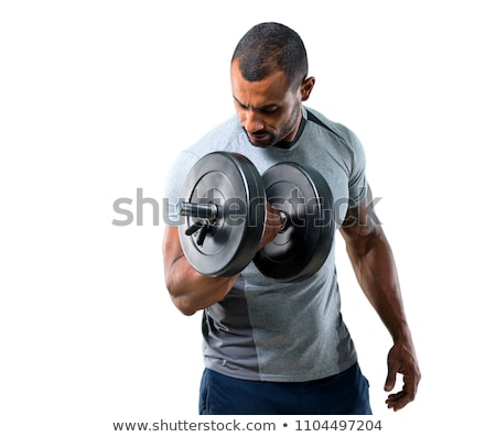 strong and muscular guy with dumbbell isolated on white background stock photo © master1305