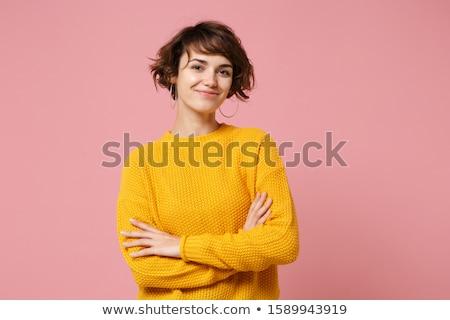 красивая женщина Постоянный оружия сложенный ювелирные портрет Сток-фото © deandrobot