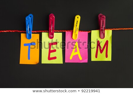 Travail d'équipe mot buanderie crochet blanche affaires Photo stock © fuzzbones0