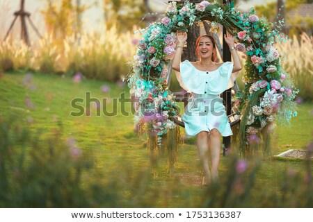 beautiful · girl · florescimento · árvores · primavera · bastante - foto stock © ANessiR