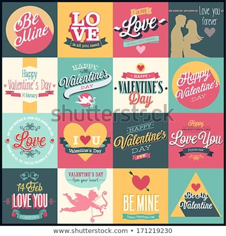 valentin · nap · grafikus · elemek · ajándék · kártya · rózsaszín - stock fotó © netkov1
