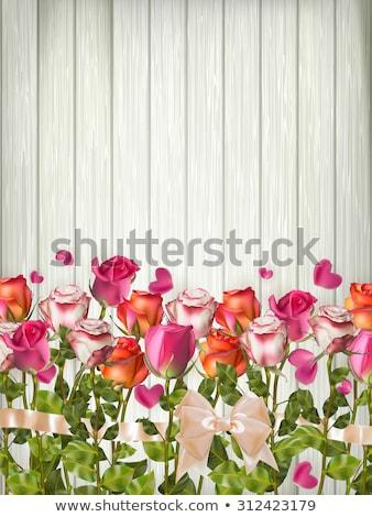 Stockfoto: Hart · bloemen · houten · tafel · eps · 10 · vintage