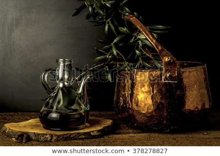 olive oil rustic jar and old cooper pot stock photo © marimorena