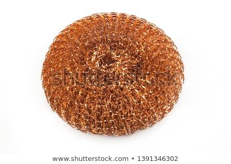 Arame esponja isolado branco cozinha aço Foto stock © Leonardi