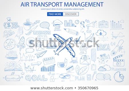 világ · levegő · utazás · légi · utazás · körül · repülőgép - stock fotó © davidarts
