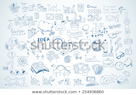 business doodles sketch set infographics elements isolated stock photo © davidarts