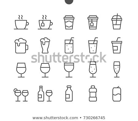 Cup bevanda calda line icona angoli web Foto d'archivio © RAStudio