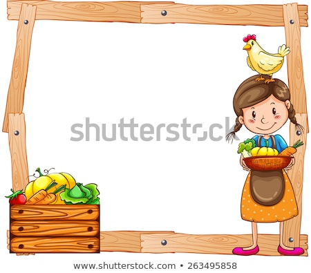 Wooden frame with a young vendor Stock photo © bluering