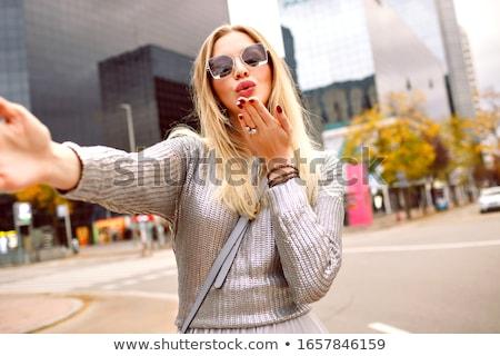 gyönyörű · szőke · nő · lány · visel · fekete · mini - stock fotó © bartekwardziak