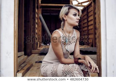 スタジオ 肖像 セクシー ブロンド ドレス 革 ストックフォト © restyler
