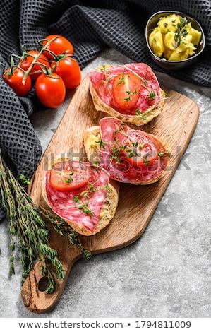 サラミ サンドイッチ イタリア語 パン ロール 薄い ストックフォト © Digifoodstock