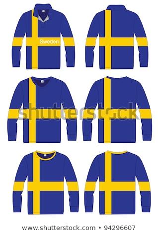 Man witte shirt Zweden vlag Stockfoto © stevanovicigor
