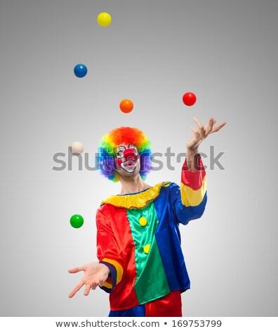 Clown jongleren tekening witte achtergrond persoon Stockfoto © bluering