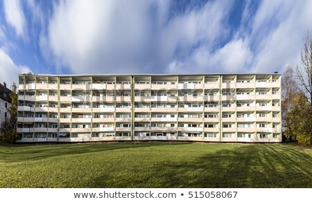 facade with balconys of a social housing complex in Munich Stock photo © meinzahn