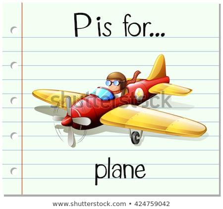 Levél repülőgép illusztráció gyerekek gyermek háttér Stock fotó © bluering