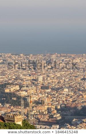 panorámakép · kilátás · város · Barcelona · Spanyolország · égbolt - stock fotó © artjazz