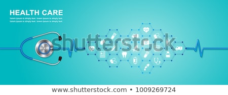 Healthy heart on a blue technology background Stock photo © Tefi