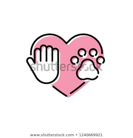 kutya · mancs · ikon · illusztráció · rajzolt · feketefehér - stock fotó © hermione