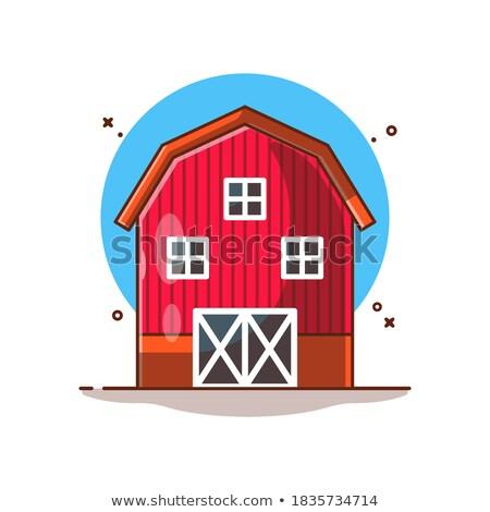 Bina ikon karikatür stil beyaz duvar Stok fotoğraf © ylivdesign