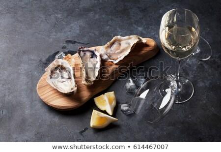 устрица рюмку вино стекла фон свежие Сток-фото © M-studio